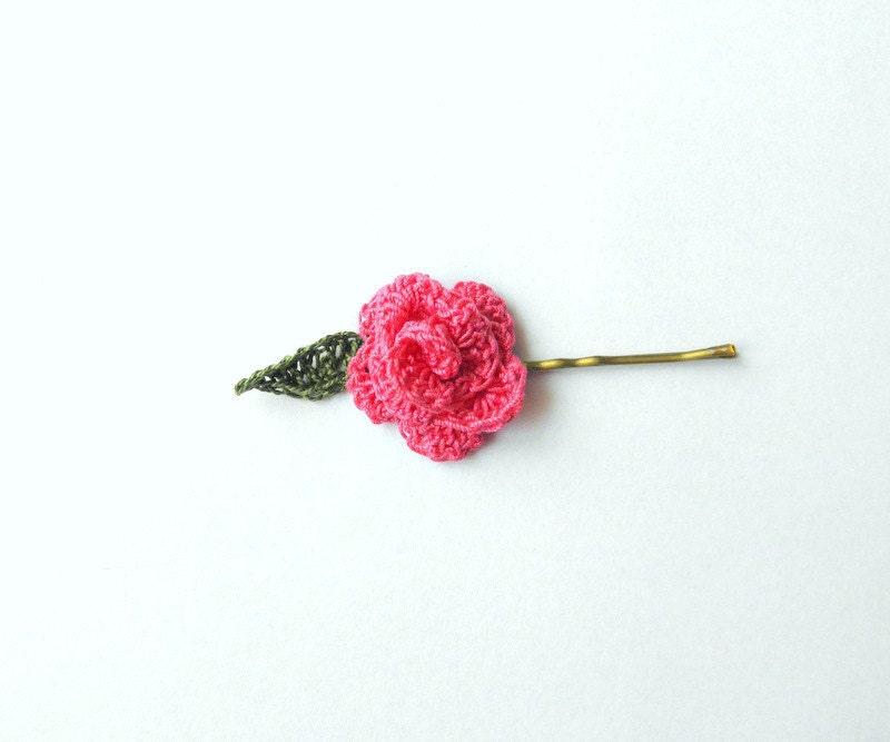 Hair pin spring summer flower and leaf pink rose crochet - SunnyGarden