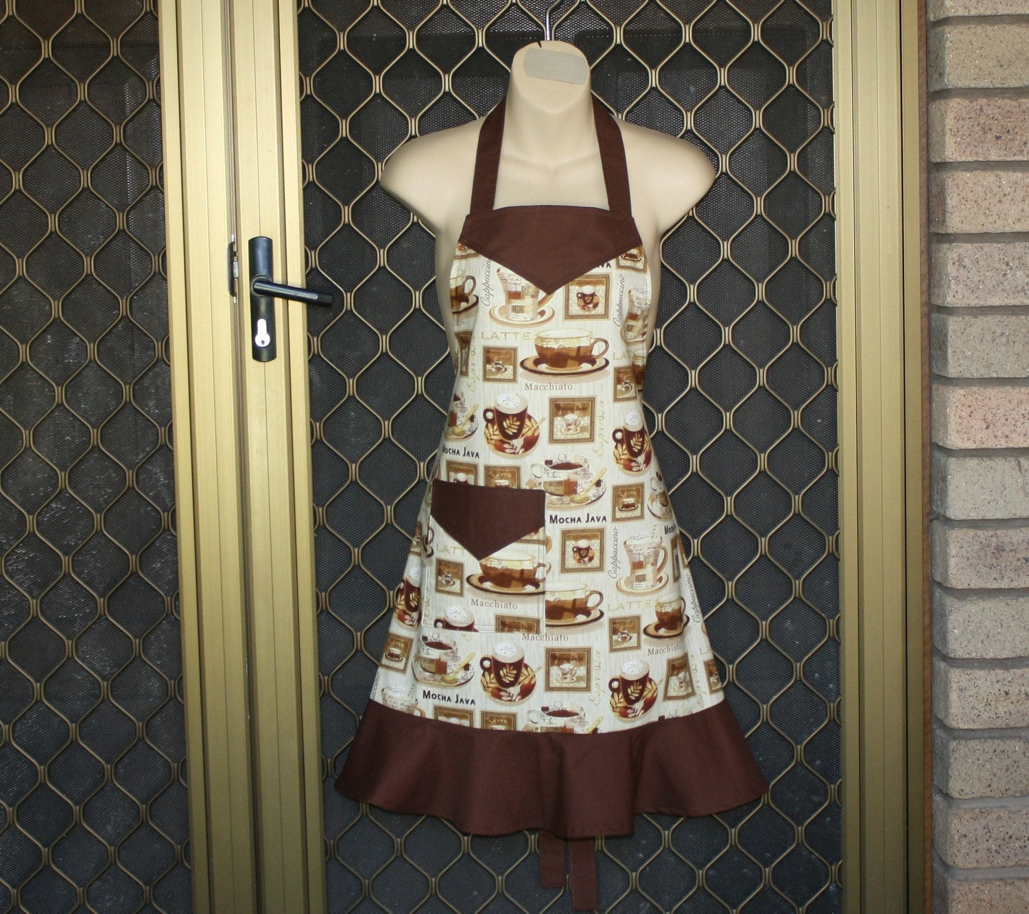 Pretty Ladies Apron in Coffee Themed Fabric by neddynibbles