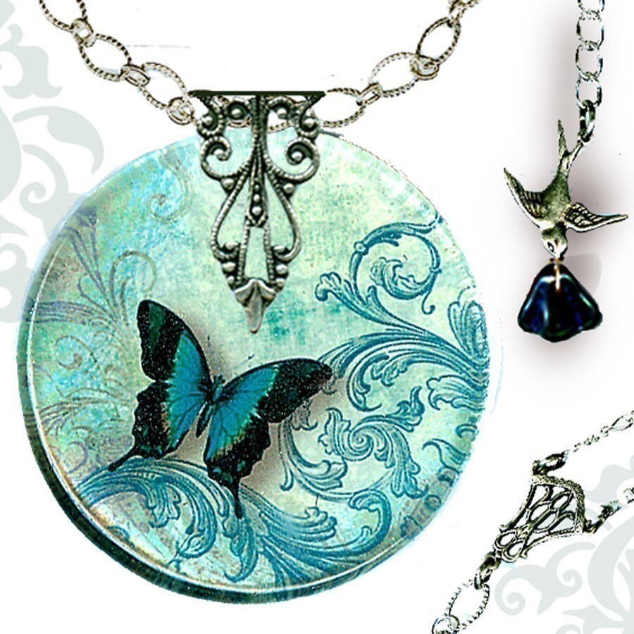 Teal Butterfly Necklace - Reversible Glass Art - Voyageur - The Alhambra Collection - Teal Flight  of the Butterfly - tzaddishop
