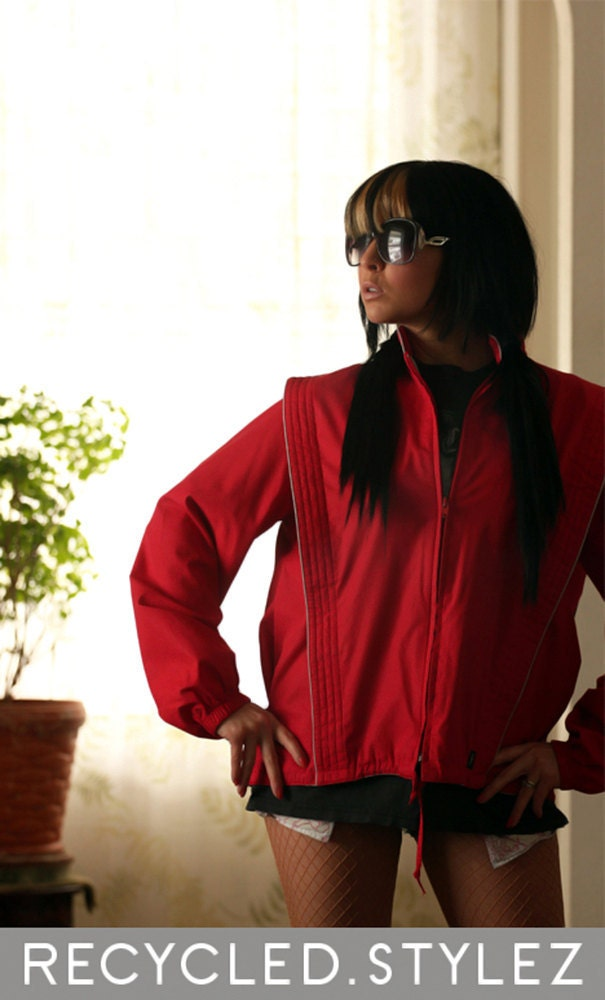 lady thriller  -  vtg 80s 'Quilted Space Bib' Red Zip-up Track Jacket - M / L