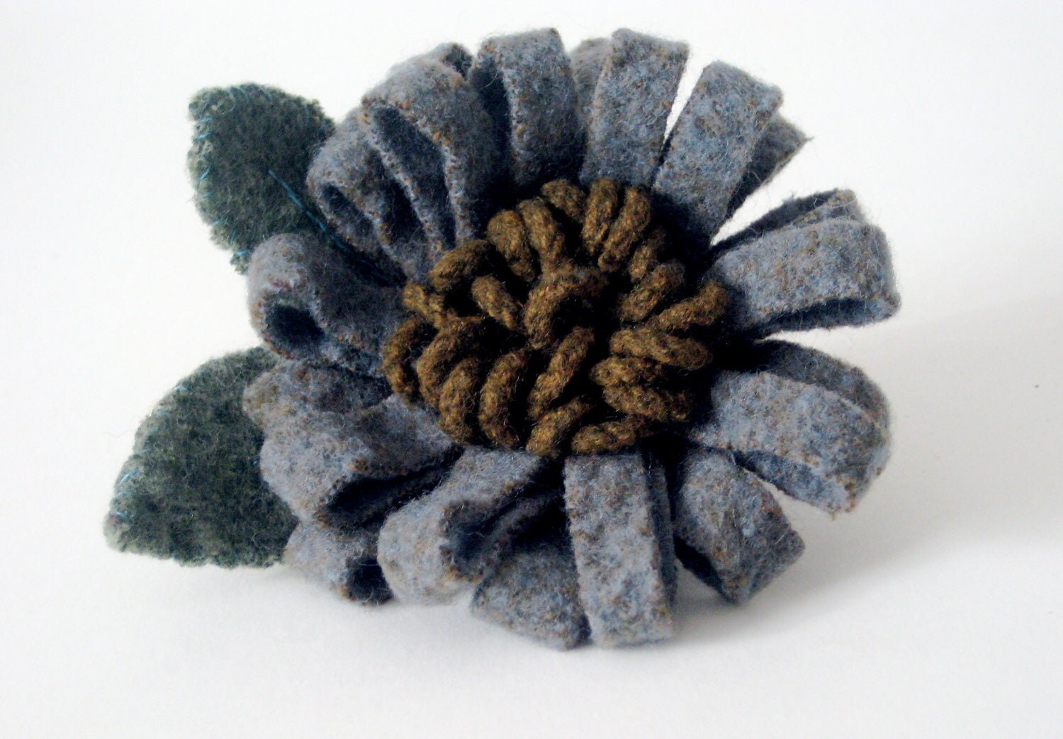 Hand Crafted Grey Felted Flower Corsage Brooch With Green Leaves - cheekyrosie