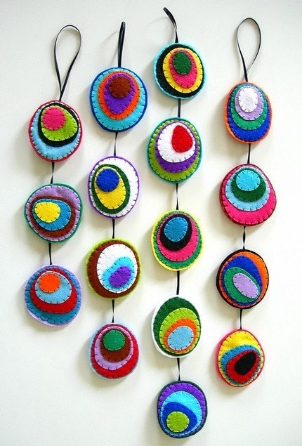 CUSTOM Abstract Felt Mobile, rainbow, geometric, circles