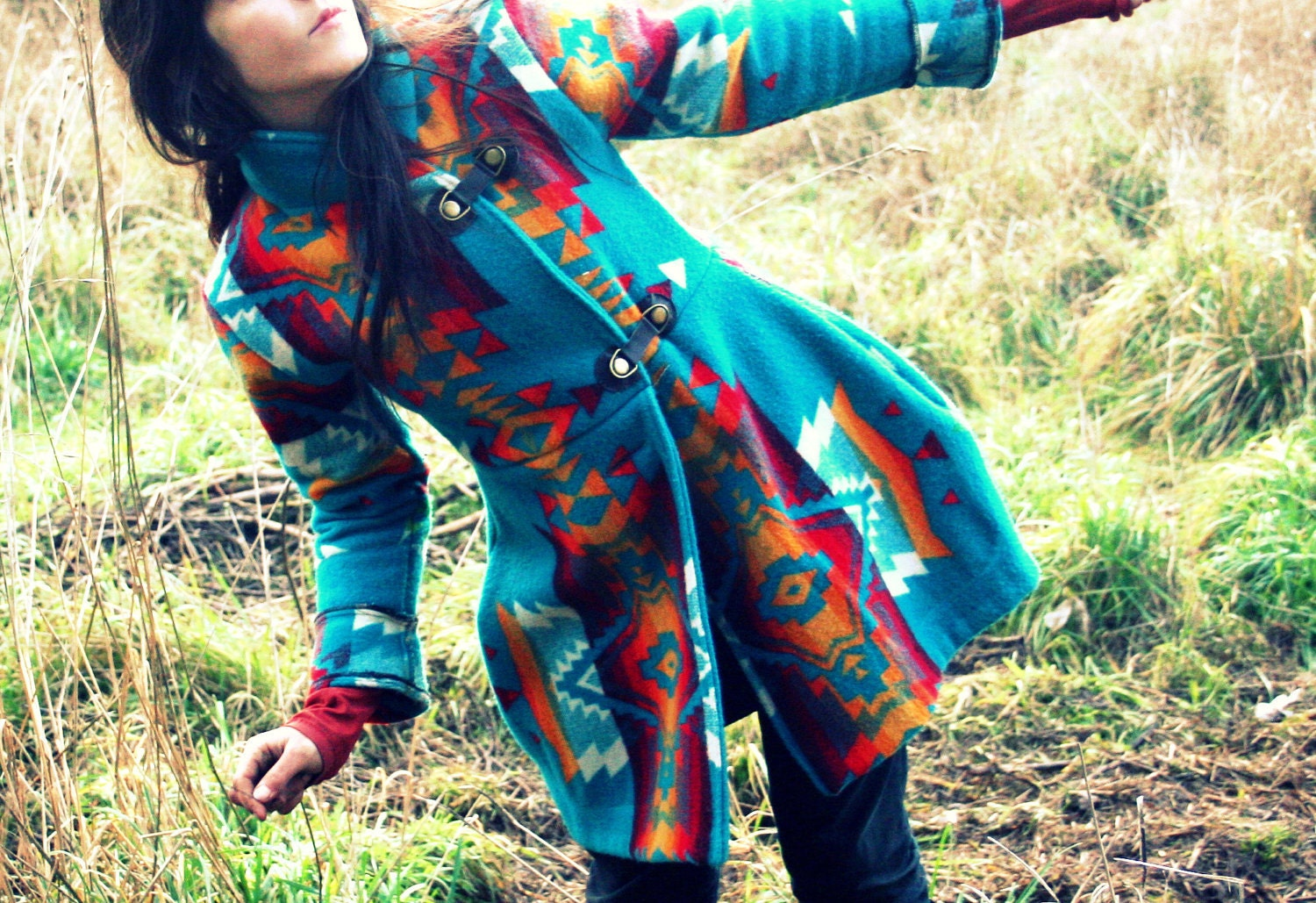 Shawl Collar Navajo Pendleton Blanket Coat