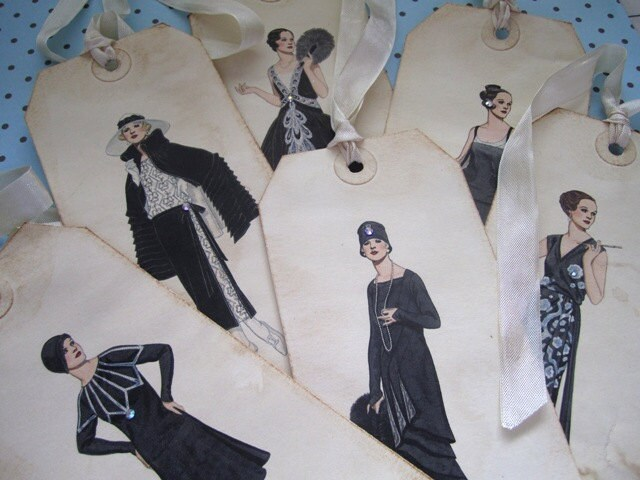 Потертый леди Couture Метки Набор из 6