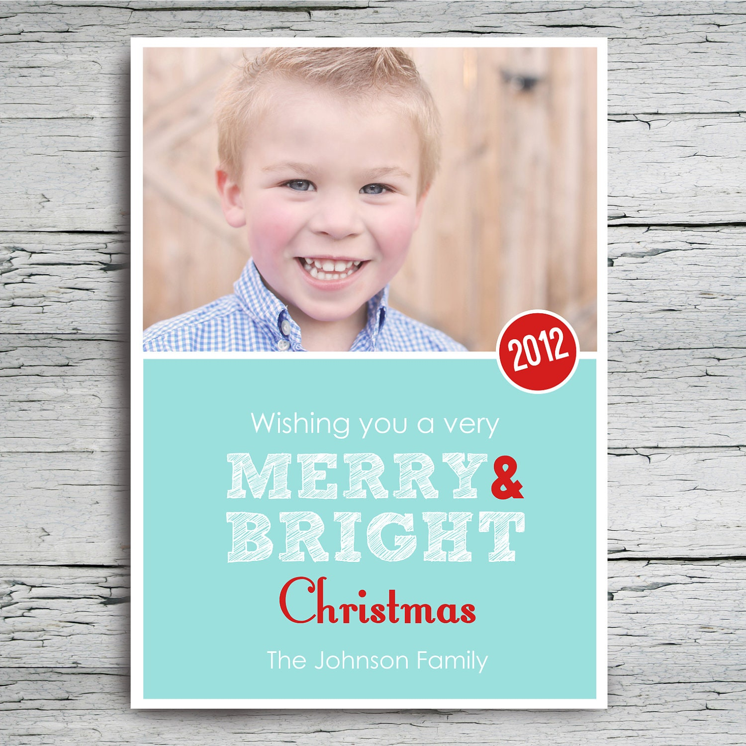 Printable Christmas card Teal Red & White - BelvaJune