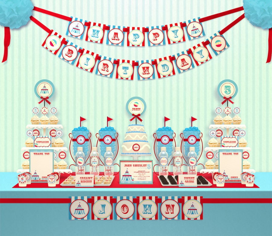 Blue Carnival Circus Birthday Party Package Personalized FULL Collection Set - PRINTABLE DIY - PS139y