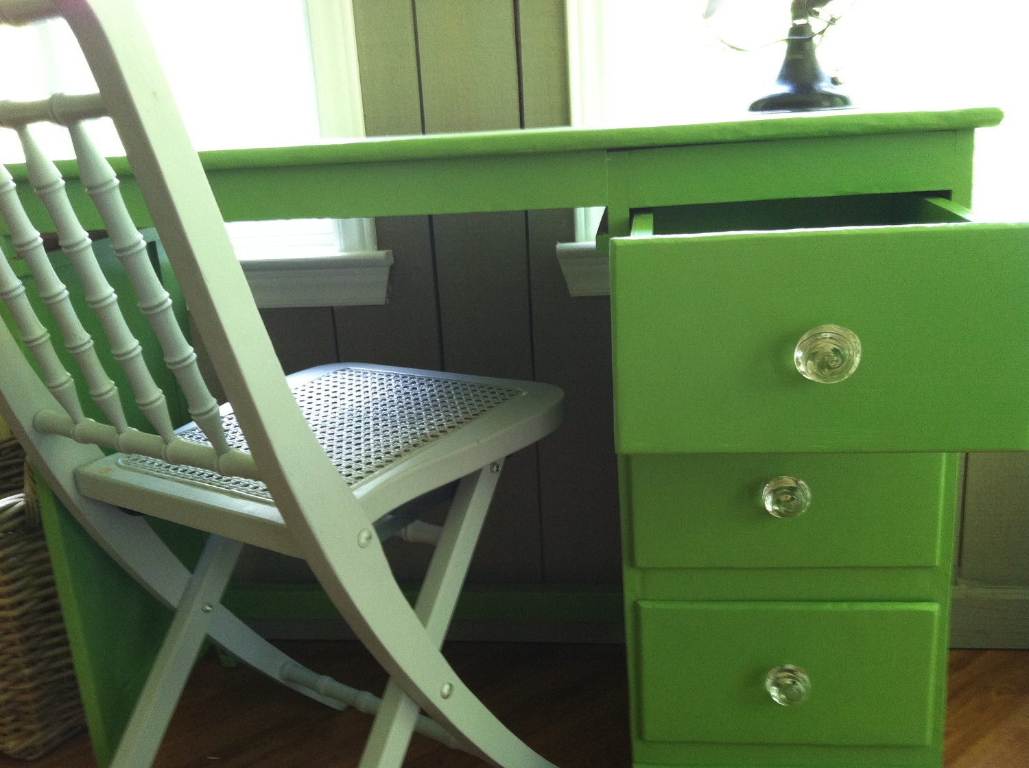 Shabby green cottage desk