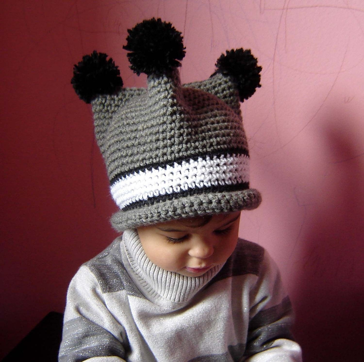 PDF Three Poms Hat CROCHET PATTERN No076 All Sizes Baby Toddler Child Adult
