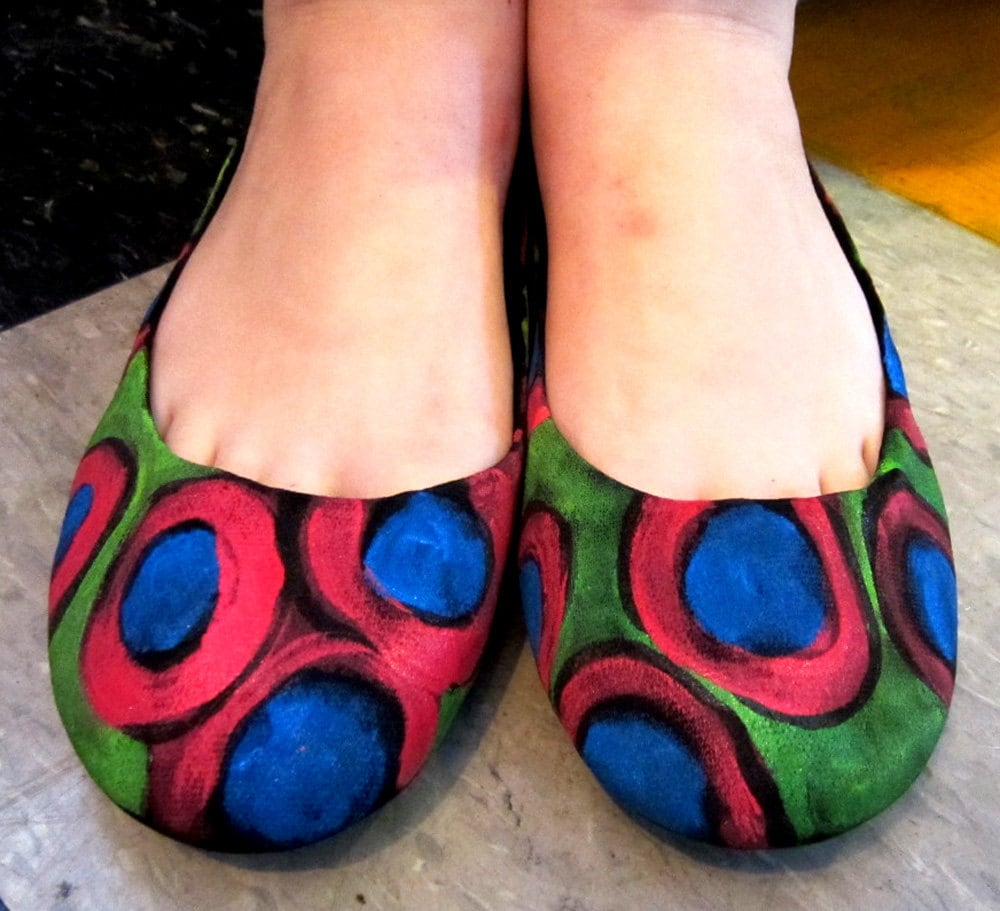Hand Painted Fabric Flats sizes 8 9 10 11