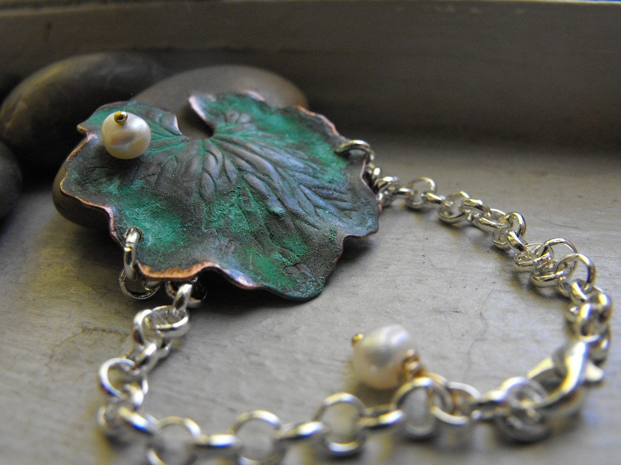 Lilly Pad patina bracelet with white freshwat ...