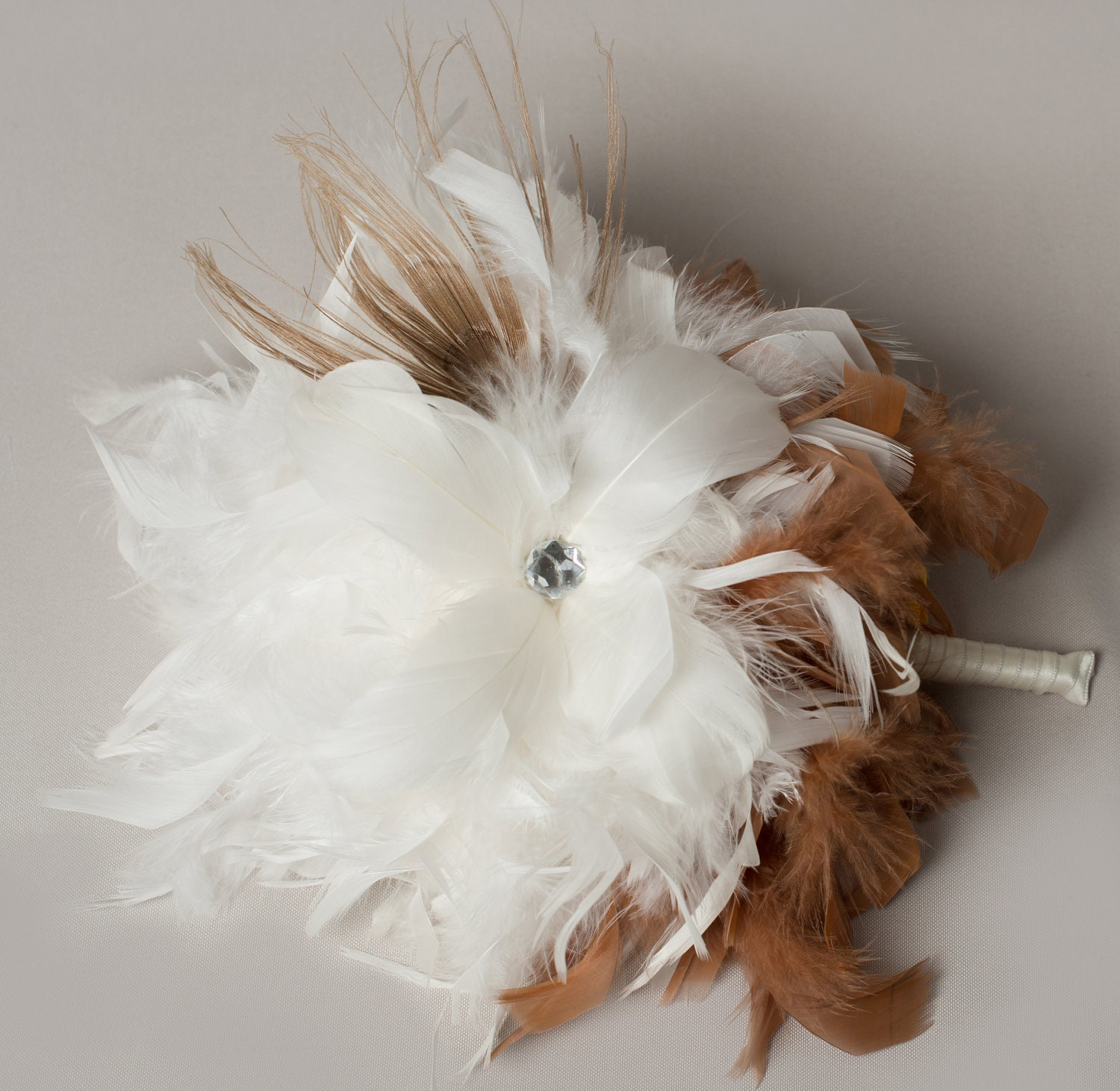 Ivory and Bleached Peacock Feather Bouquet, Bridal Bouquet, Feather Wedding Bouquet,  Bridesmaid Bouquets,  Ivory Bouquet