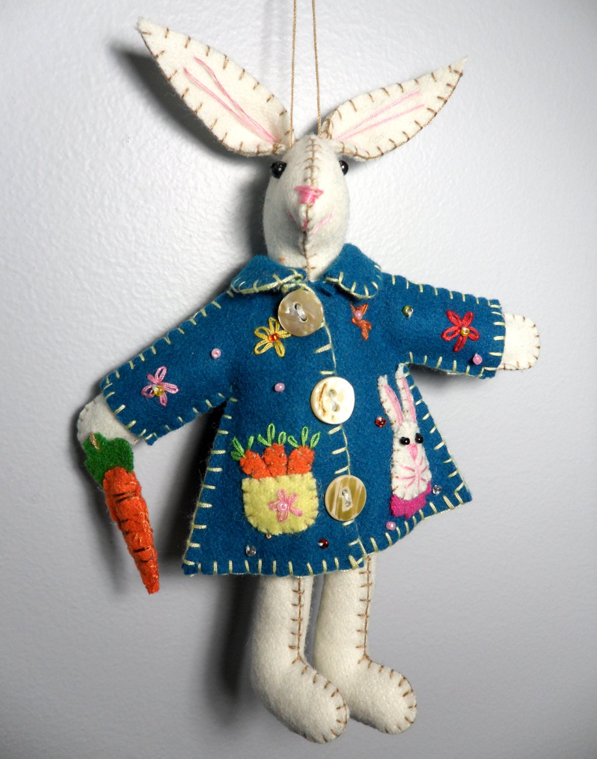 Wool Felt Bunny Plush Ornament Blue Coat Bunny with beautiful carrot basket pattern design Easter Spring Ornament 7.5""
