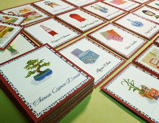 Chinoiserie Memory Card Game, Art and Decor Motif