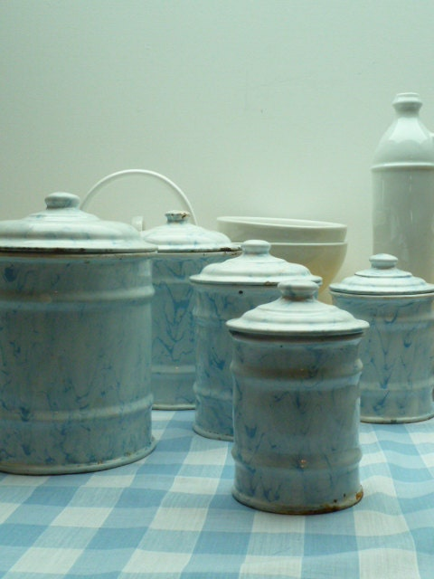 French enamel kitchen canisters, set of 5 in a beautiful blue and white ripple finish - LeMoulinBleu