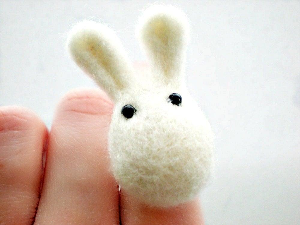 White Rabbit Ring - Needle Felted Animal Ring