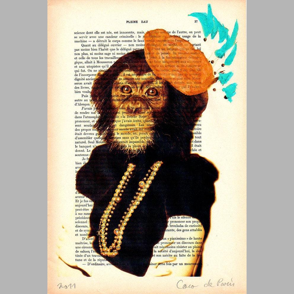 """Мисс Monkey - оригинальные произведения искусства Mixed Media, Ручная роспись по 1920 известный журнал Parisien 'La Petit Иллюстрация """"Коко де Пари"""