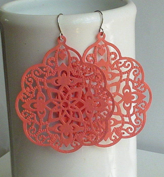 SALE -  Melon -Hand painted faux patina, filigree stamping ,Big bold bohemian lace filigree earrings - InStyleCollections