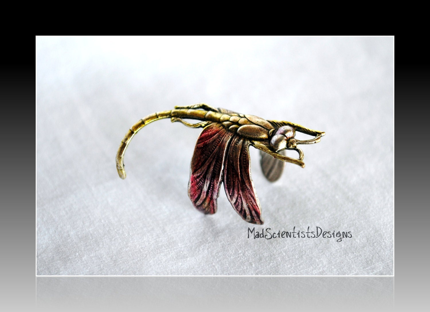 Colorful Dragonfly Ring 001 Neo Victorian Nature Inspired by MadScientistsDesigns