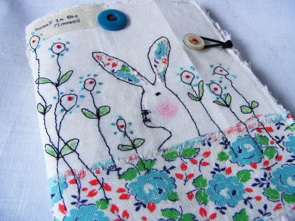Handmade Needlecase or Needlebook : Bunny in the flowers