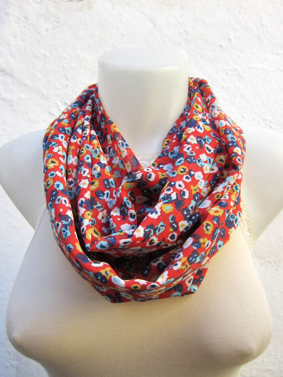 infinity scarf Loop scarf Neckwarmer Necklace scarf Fabric scarf   Red Yellow   Blue White   Chiffon scarf - nurlu
