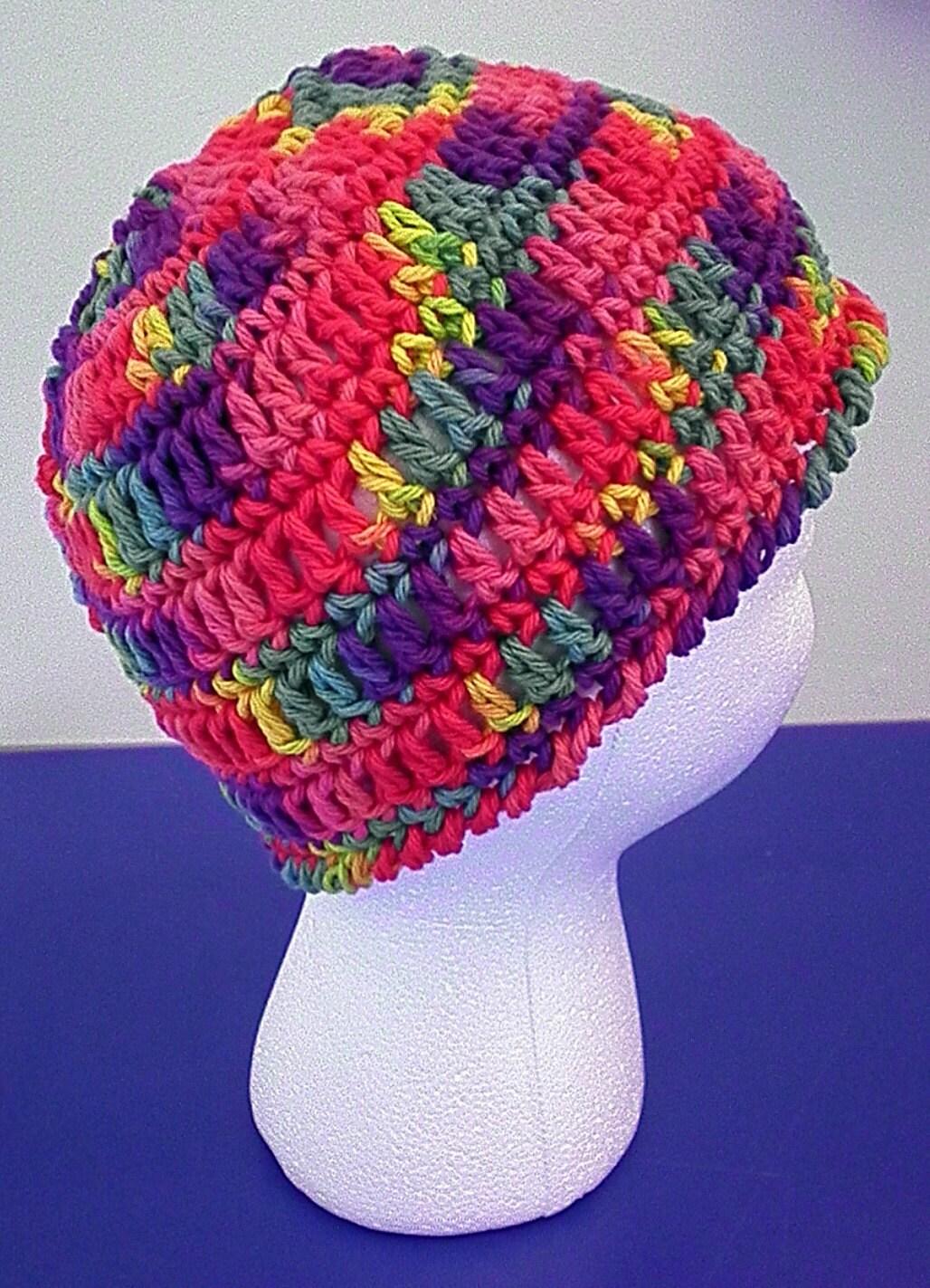 Rainbow Fiesta Cotton Crocheted Hat (Teen/Adult size)
