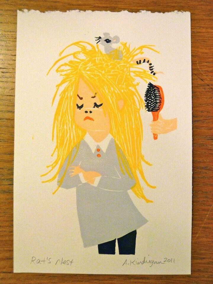 blonde RAT'S NEST block print