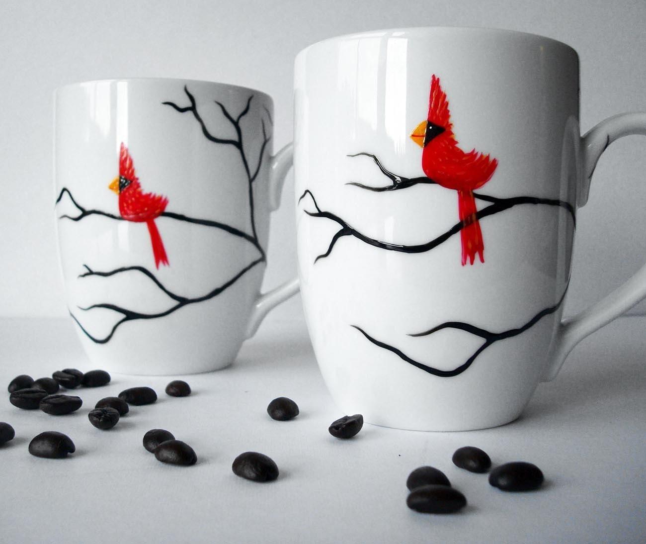 Christmas Cardinal Mugs--Set of 2 - MaryElizabethArts