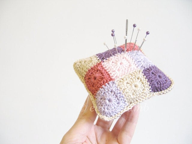 crochet pincushion... Violet - vintage coral, grape soft pink, lilac and beige - MADE TO ORDER - emmalamb