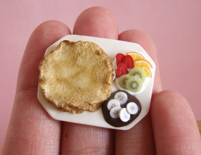 French Pancakes and Fruit - Crepes aux Fruits - 1/12 Dollhouse Scale Miniature Food