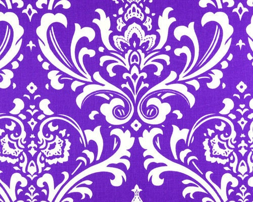 DAMASK TABLE RUNNER White Damask on Purple Wedding Bridal Large Print