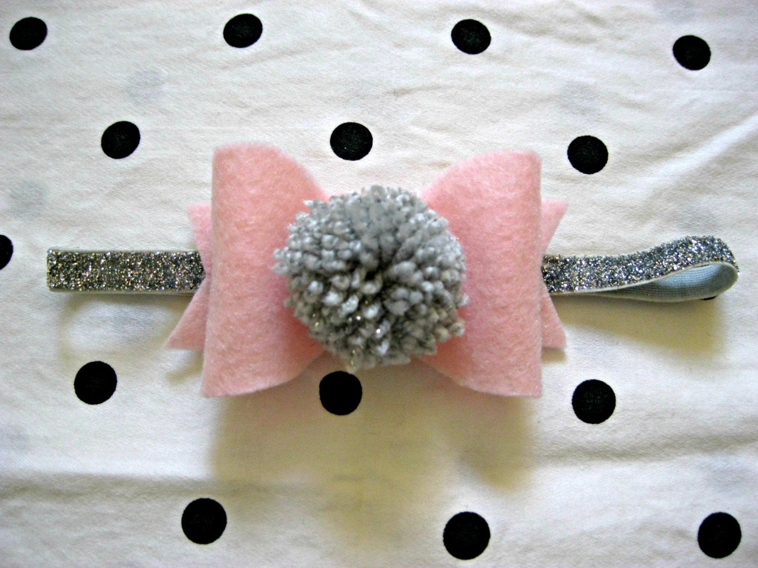 Baby Bow Headband-Pink Felt Bow With Silver Pom Pom On Sparkly Elastic