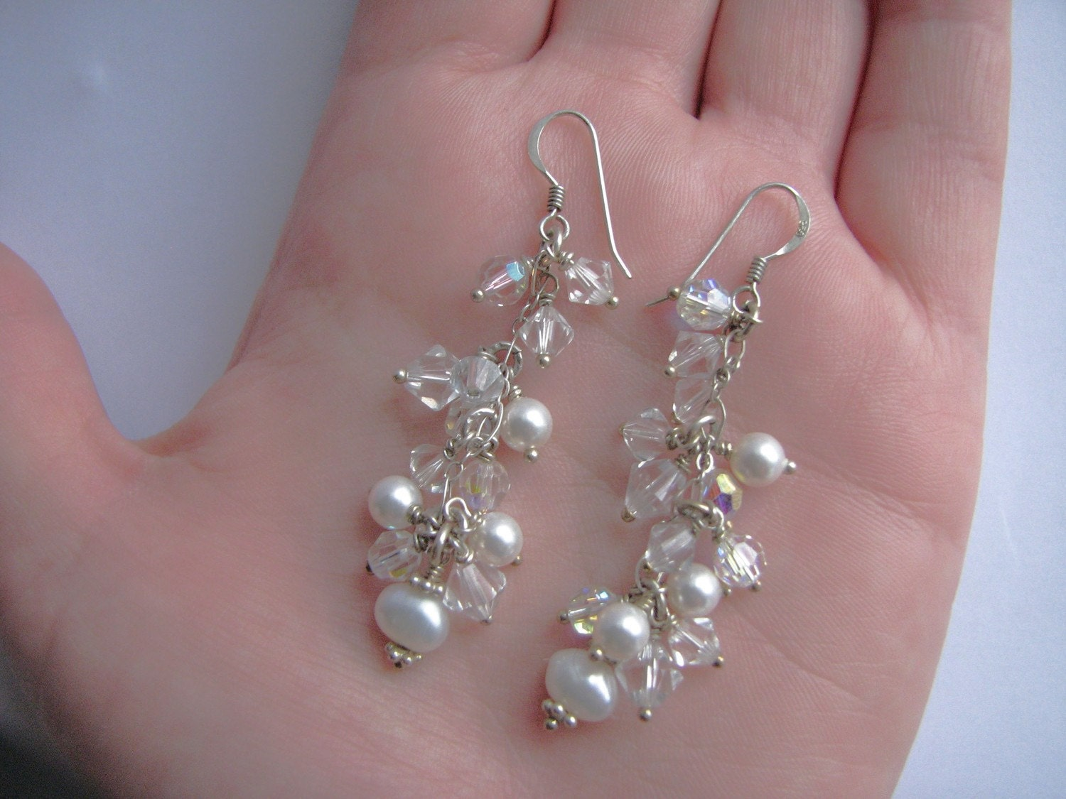 Bridal earrings Wedding Jewellery Freshwater Pearl Crystal Sterling Silver Cluster Statement Dangle Sparkle