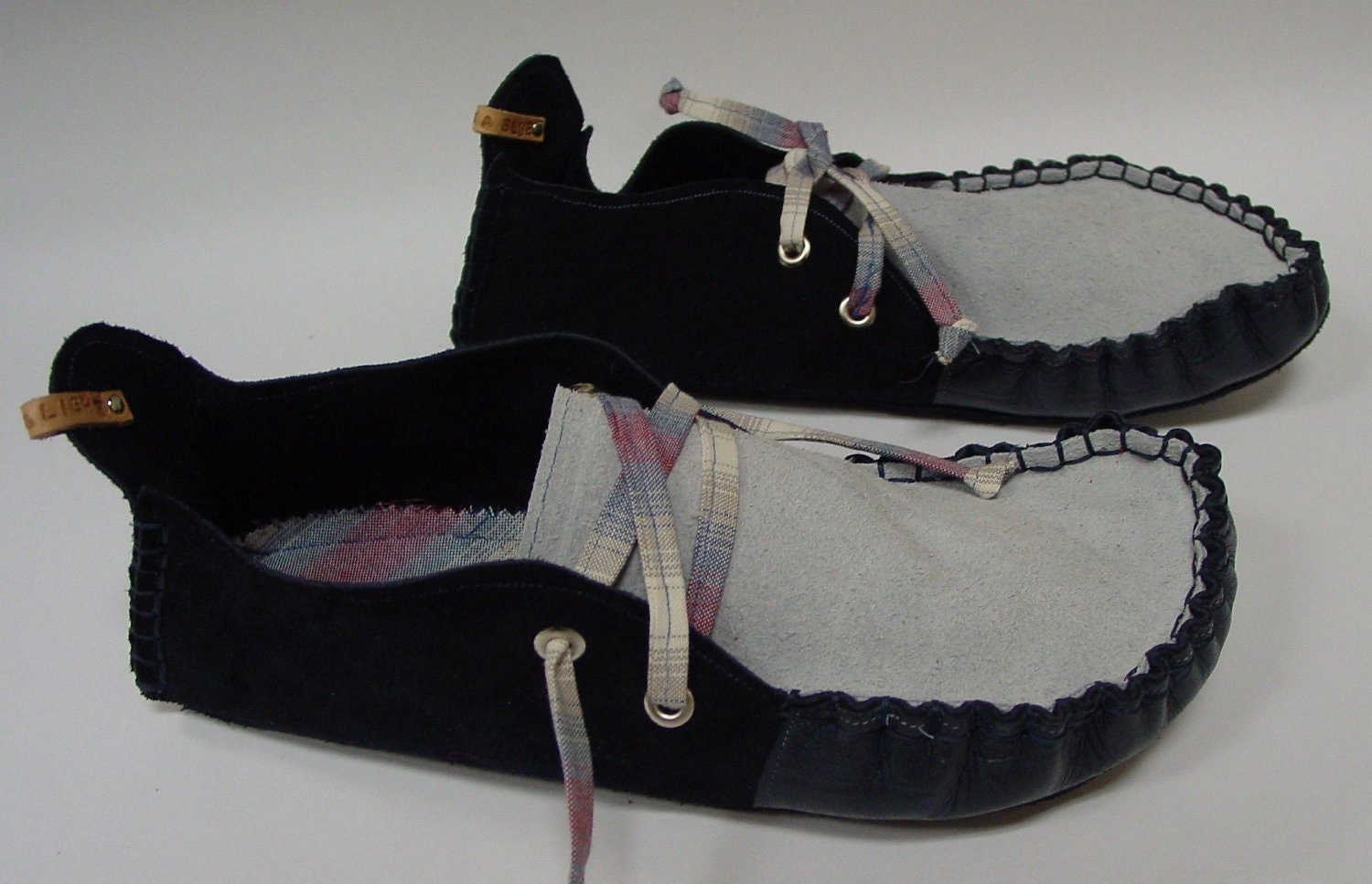 23 Tribes hand made moccasins. Blue Suede Shoes