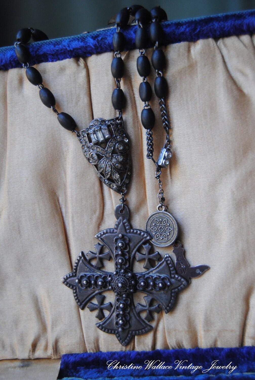 Сделки отложенной на Коллин - Паломничество - Vintage Сборка Розария Art Deco Rhinestone Иерусалиме Крест ОЖЕРЕЛЬЕ