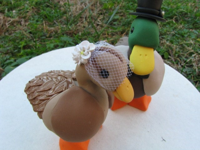 custom Mallard duck wedding cake topper RESERVED for Sharon