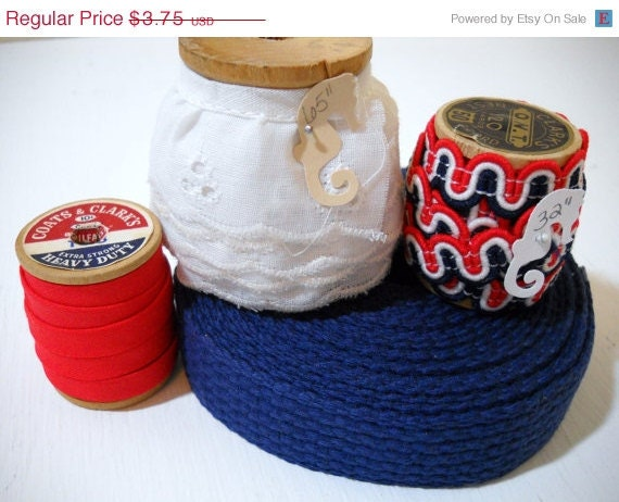 Christmas In July Patriotic Inspiration Red White and Blue Lace and Trim on Wooden Spools of Thread Over 8 Yards