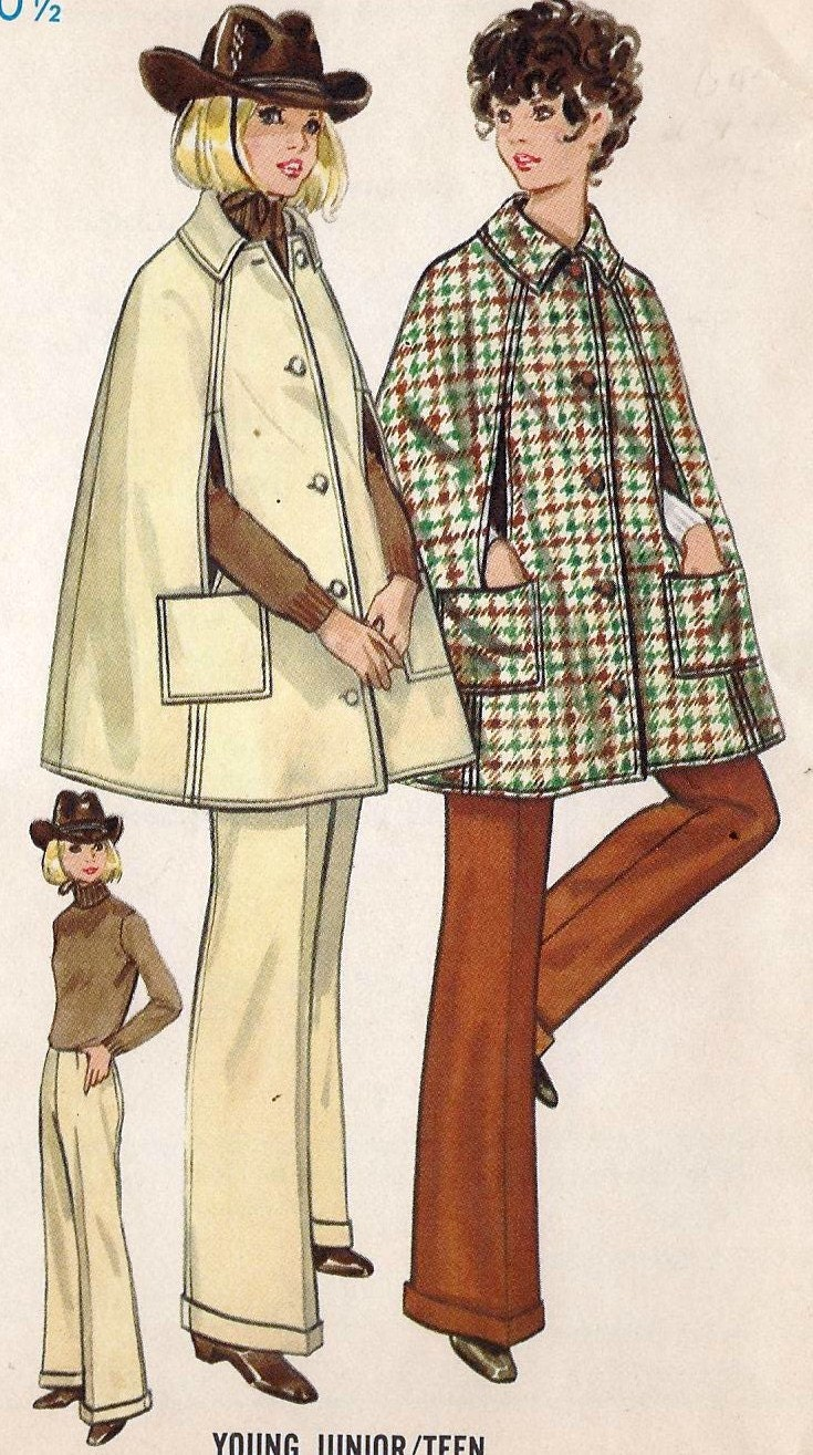 """1960s Young Junior or Teen Cape and Pants Vintage Sewing Pattern, Butterick 5498 bust 30.5"""" uncut"""