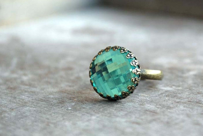 "light catcher  """" Adjustable Ring aqua, teal - picturing"