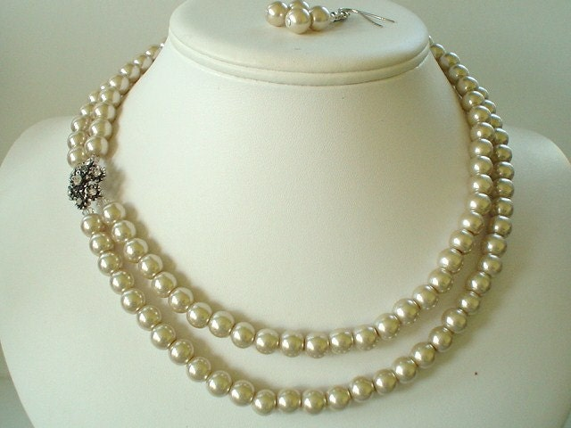 Two Strand Champagne Pearl with Flower Rhinestone Pendant Beaded Necklace and Earring Set    Great Brides or Bridesmaid Gifts