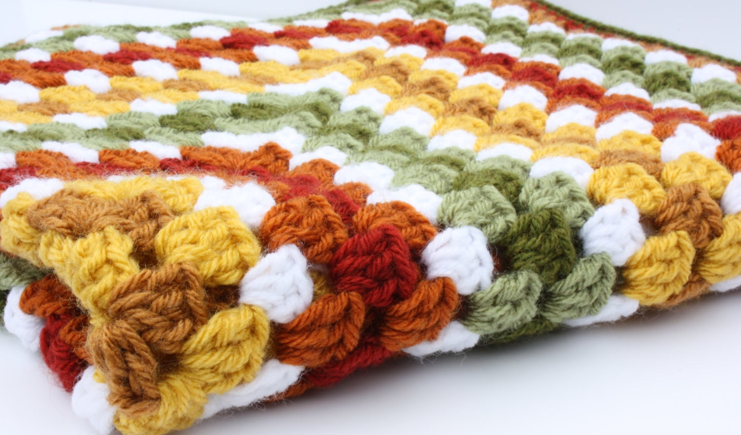 Crochet Granny Square Baby Blanket Fall Colors Rust Sage and Mustard - syble