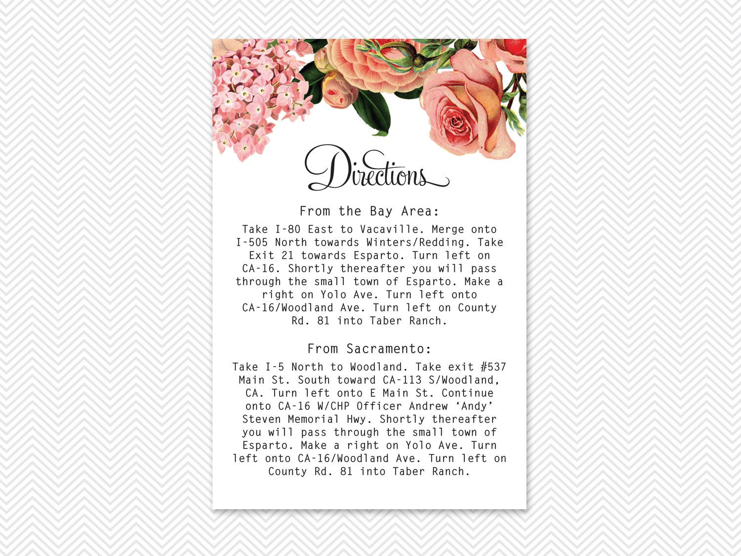 "DIY English Garden Digital Directions Card - ""Jillian"""