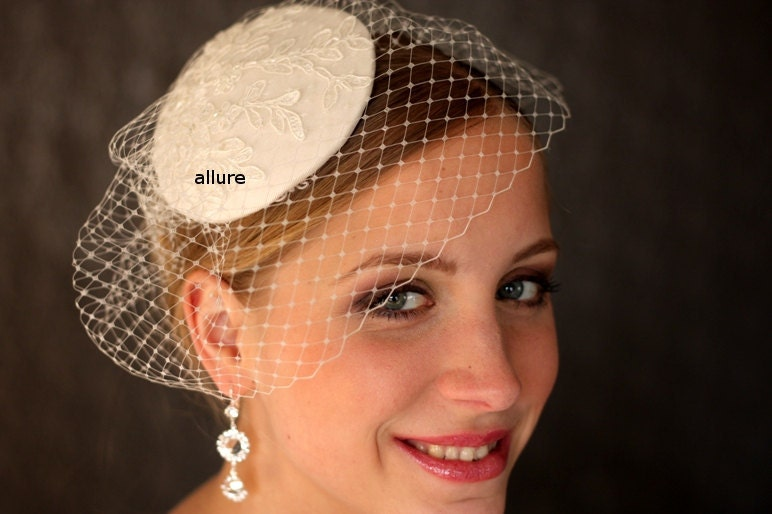 ivory  BIRDCAGE VEIL ,  wedding hat, bridal hat. wedding headpiece with lace
