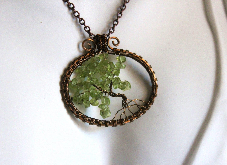 """Bonsai Tree of life, Peridot Gemstones, Brass Wire, 20"""" Chain - FawnAnselmoArtistry"""