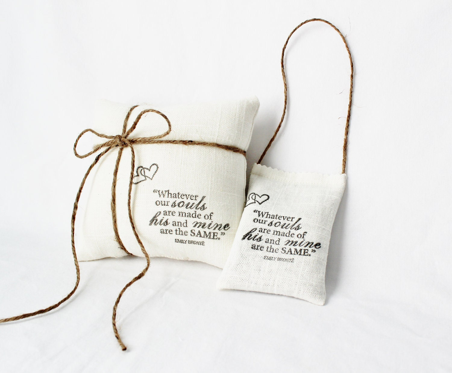 Linen Lavender Sachet, Emily Bronte, Lover's Quote, Luxurious