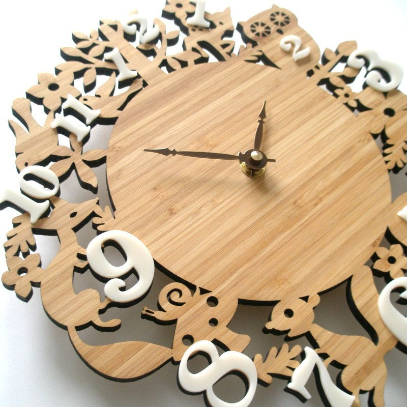 Modern Wall Clock - It's My Forest - Bamboo - Free Shipping