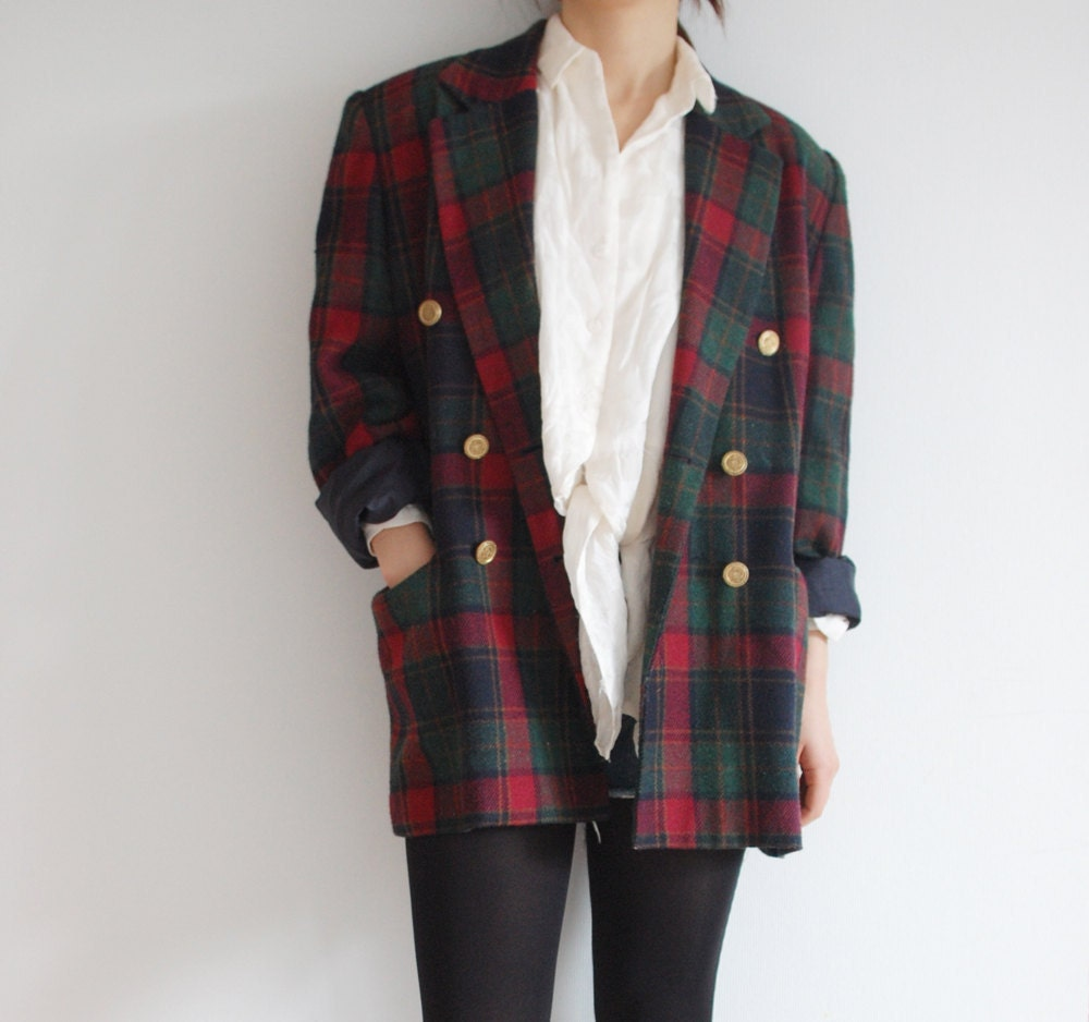 VINTAGE Green Red Black Tartan Checker Boyfriend Blazer