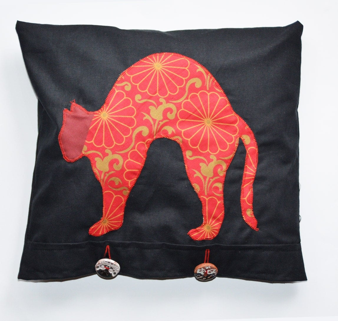 Unique red Cushion cover with applique cat, ceramic buttons, pillow - EMuuGallery