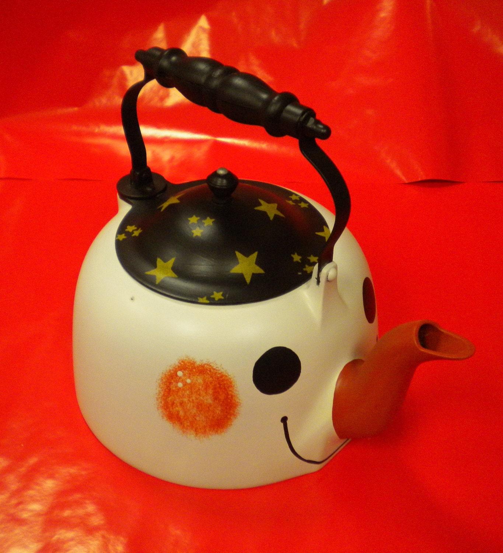 Vintage Tea Kettle Snowman