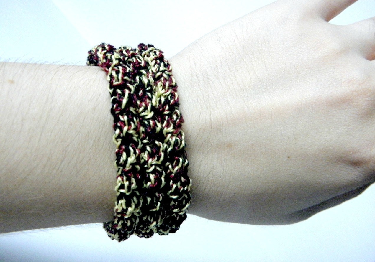Crochet bracelet made of cotton yellow black and burgundy color