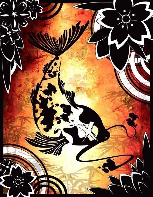DeadFish digital art print 11x14 vector koi japan buddah modern From Vivka